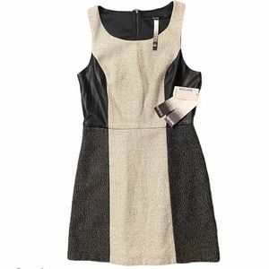 Kensie structured shift dress with leather panels